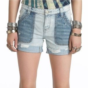 Free People Two Tone Carpenter Shorts W 25